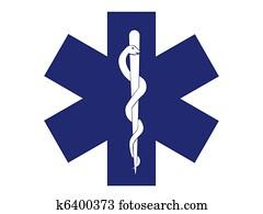 emergency medical symbol blue cross - illustration