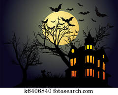 Clip Art of October calendar - Halloween with haunted ...