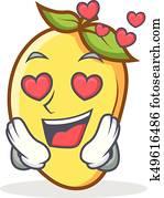 In love mango character cartoon mascot