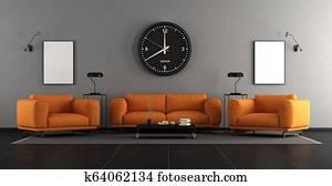 Modern living room with orange furniture