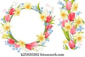 rahmen, und, seamless, umrandungen, mit, frühjahrsblumen