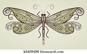 vector dragonfly with unique pattern