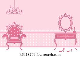 Antique pink interior