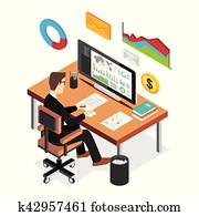 Businessman analyzing financial statistics dashboard. Business intelligent concept. Flat 3d isometric business technology concept.