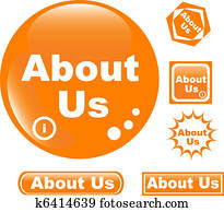 button about us colored glossy icon