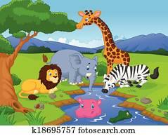 Archivio fotografico savana k1582421 cerca archivi - Cartone animato giraffe immagini ...