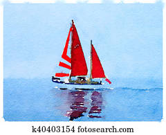 DW sailboat with red sails up 1