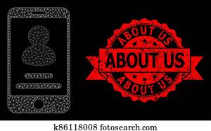 Scratched About Us Stamp Seal and Polygonal Mesh Smartphone User Info