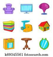 Sweet home icons set, cartoon style