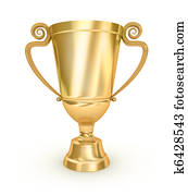 Golden Trophy Cup on white surface