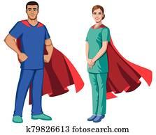 Nurse Superheroes on White