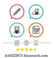 Pencil icon  Edit document file  Eraser sign  Clipart | k37638850