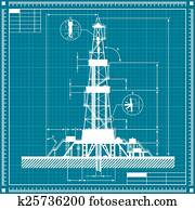 Blueprint of Oil rig silhouette