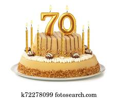Festive cake with golden candles - Number 70