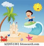 glücklich, junge, karikatur, surfen