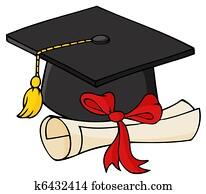Graduate Black Cap With Diploma