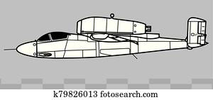 Heinkel He.162 SALAMANDER. Outline vector drawing
