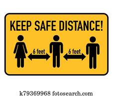 Keep safe distance, 6 feet. Coronavirus spreading prevention.