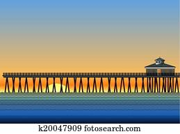 Pier With Sunset