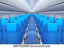 Plane or airplane cabin interior with seats