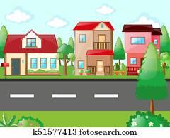 Scene with houses in neighborhood