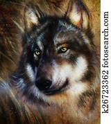 Wolf painting, color background on paper , multicolor