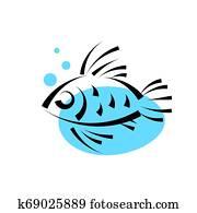 fische, in, wasser, logo, design, vektor, template., meeresfrüchte, gasthaus, laden, kaufmannsladen, logotype, icon.