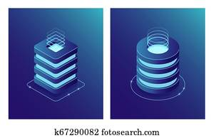 Isometric Database and Data Center, Server room rack, Cloud computing and File cloud storage. Two web icon.