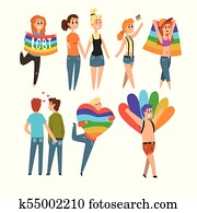Lgbt people community celebrating gay pride, love parade cartoon vector Illustrations isolated on a white background