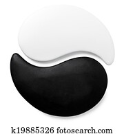 symbol Yin-Yang of stone texture, the sign of the two elements is isolated on white background