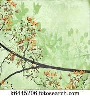 Tangled Blossom Border on Antique Paper