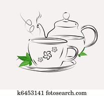 Drawing of tea pot and cup on white