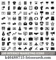 100 internet marketing icons set, simple style