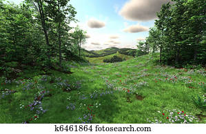 Countryside with meadows and hills