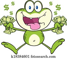Crazy Green Frog Jumping With Cash