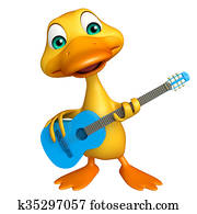 Duck cartoon character with guitar
