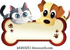 hund, und, katz, mit, spruchbaender