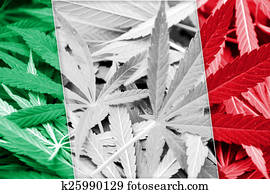 Italy Flag on cannabis background. Drug policy. Legalization of marijuana