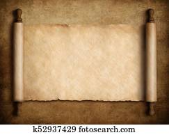 scroll parchment over old paper background 3d illustration