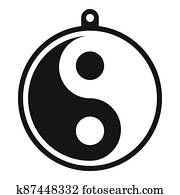 Yin yang medallion icon, simple style