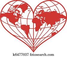 heart earth globe, vector