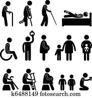 alter mann, patient, blenden, disable, symbol
