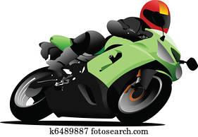 Biker on the road. Vector illustra