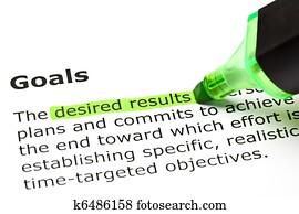 'Desired results', under 'Goals'