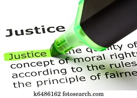 'Justice' highlighted in green
