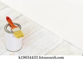 Toppen Målarpensel, och, kan, målarfärg borsta, och, vit, färg, behållare NS-39