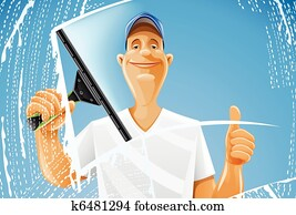 man cleaning window squeegee spray