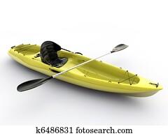 yellow kayak isolated on white background