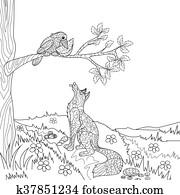 Zorro Y Cuervo Story Libro Abierto Fábula Ilustración Clip