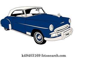 1950's, klassische, cabrio